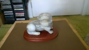 China White Jade Foo Lion Shi Shi Statue High Polish 650 Gr
