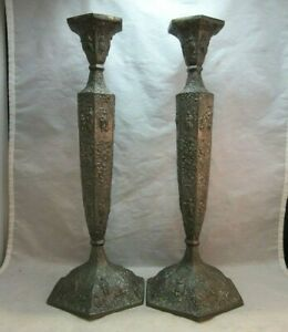 Antique Crescent Embossed Silverplate Pair Of Candlesticks