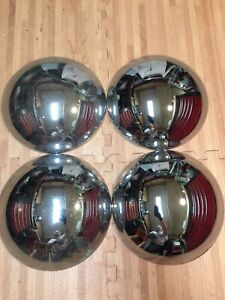 Vintage 10 Calcustom Chrome Baby Moon Center Hub Caps Steel Wheel Covers