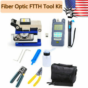 18pcs Fiber Optic Ftth Tools Kit Fc 6s Fiber Cleaver Power Meter Finder Plier