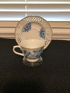 Liette International Hand Painted Tea Cup Saucer Pre Owned