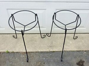 2 Vintage Black Mid Century Iron Plant Stands Planter Holder Pair Set