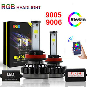 2x 9005 9006 Rgb Car Led Headlight Driving Fog Bulbs Ballast Kit App Control