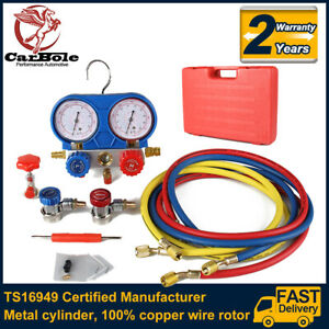 A c R134a Manifold Gauge Set Refrigeration Kit Couplers Adapters Colorful Hose