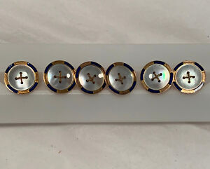 6 Matching Solid Gold 9ct Mother Of Pearl And Blue Enamel Buttons Eap Maker
