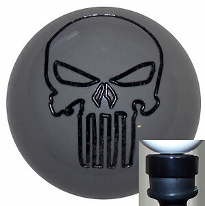 Punisher Skull Gray Shift Knob With Black Adapter Kit Fits New Dodge Dart