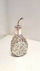 China Bamboo Sterling Silver Overlay Perfume Glass Scent Bottle