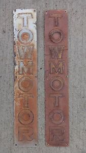 Vintage Towmotor Name Plates Emblems Original Forklift Truck Caterpillar Tractor