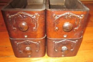 Four Vintage Antique Wood Sewing Machine Cabinet Drawers