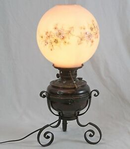 Antique 1897 Electrified Gwtw Copper Oil Lamp Wrought Iron Tripod Glass Shade