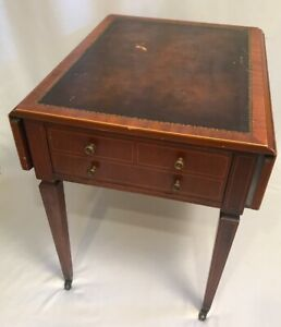 Weiman Tables Heirloom Leather Top Drop Leaf Side Table Wheels Mahogany Cherry