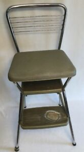 Vtg Mid Century Cosco Chrome Vinyl Green Kitchen Chair Flip Up Seat Step Stool