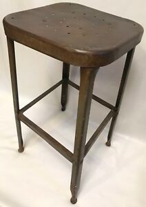 Vtg Mid Century Square Metal Lab Industrial Factory Steampunk Retro Stool 26