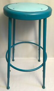 Vtg Mayline Industrial Shop Stool Adj 25 33 Legs Drafting Machinist Chair Blue