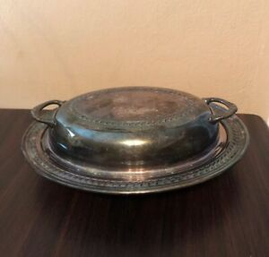 Lancaster Silver Co Oval Covered Vegetable Serving Dish Plate With Lid