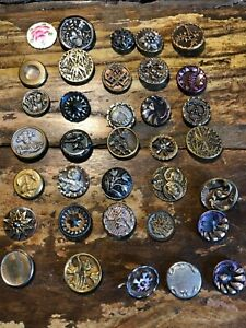 35 Antique Shankless Buttons Circa 1880 S 8
