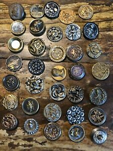 35 Antique Shankless Buttons Circa 1880 S 9