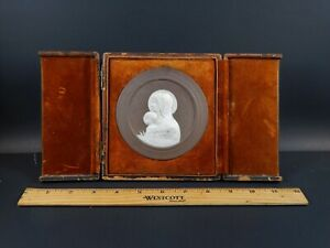 Antique Porcelain Jasperware Madonna Child Plaque Black Starr Frost Gorham Nyc