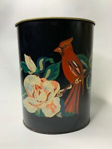 Vintage Hand Painted Tole Trash Can Bird Florals Cardinal Black Round Tropical