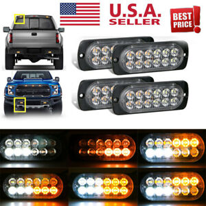 4x Amber 12 Led Car Truck Emergency Beacon Warning Hazard Flash Strobe Light Bar