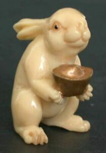Japanese Ivory Color Bone Netsuke Good Rabbit Offers U Gold Nugget Take It