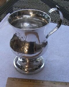 Large Coin Silver Footed Mug Presentation Engraving Unmarked Ca 1830