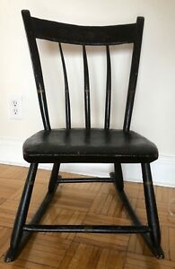 Antique 18th Or 19th Century Wood Handmade Wooden Child S Rocking Chair Small