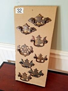 Assorted Antique Brass Chippendale Style Drawer Pulls Drop Bale Handles