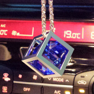 Blue Rubik Cube Crystal Alloy Car Rearview Mirror Pendant Hanging Hanger Fashion