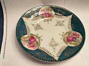 Saucer Royal Sealy China Japan Vintage Couple In A Garden Green Edges W Gold