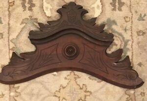 27 Antique Pediment Crest In Solid Walnut Wood Salvage
