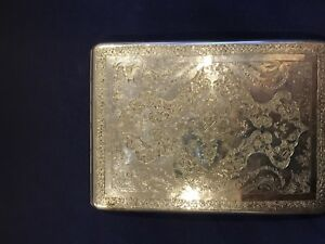 Museum Quality Islamic Middle Eastern Qajar Persian Solid Silver Card Case