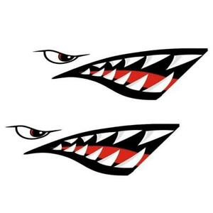 2pcs Waterproof Shark Teeth Mouth Vinyl Decal Stickers For Kayak Dinghy Boat Car