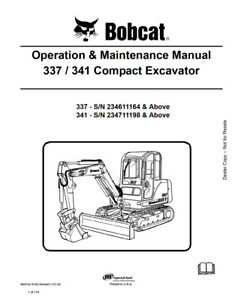 New Bobcat 337 341 Compact Excavator Operation Maintenance Manual 6903162