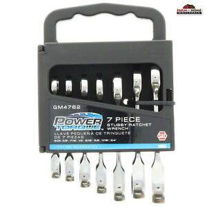 7pc Sae Stubby Ratcheting Wrench Set New