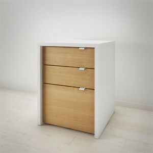 Chrono 3 drawer Filing Cabinet From Nexera White And Natural Maple