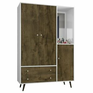 Manhattan Comfort Liberty Wardrobe Armoire In White And Rustic Brown
