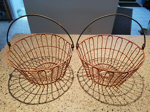 Vintage 2 Metal Wire Egg Gathering Baskets Old Rusty Farm Decor Shabby Primitive