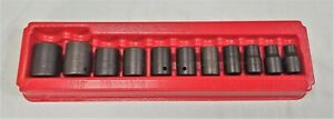 Snap On Tool 11 Pc 1 2 Drive 6 Point Sae Flank Drive Shallow Impact Socket Set