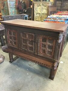 Antique Console Sideboard Carved Iron Nailed Chest Tribal Buffet Clearance Sale