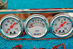 Sunpro Triple Gauge Chrome Water Temp Volt Oil Brand New White Face