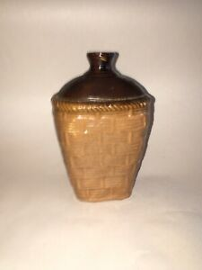 Antique Vintage Brown Stoneware Flask With Molded Basketweave Design