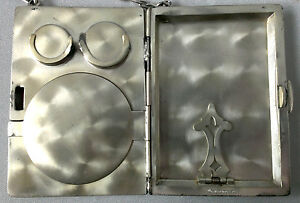 Antique Sterling Silver Money Holder Coins Card Cases Pocket Metal Wallet Purse