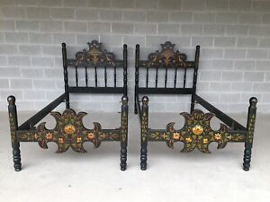 Antique Paint Decorated Bavarian Style Twin Poster Beds A Pair
