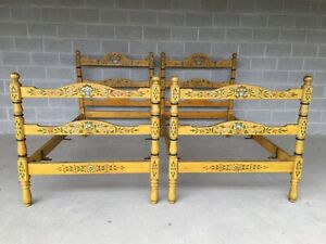 Antique 19th Century Paint Decorated Bavarian Style Twin Poster Beds A Pair