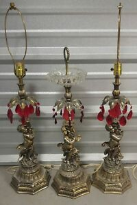 Hollywood Regency 2 Lamps And Floor Ashtray Red Prisms Nice 3 Pcs Set