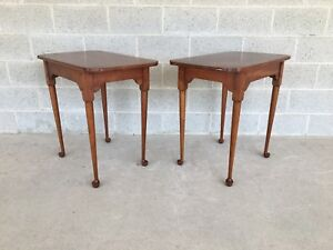 Pair Of High Quality Porringer Top Solid Cherry Tea Tables