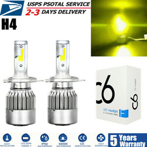 2x H4 9003 Hb2 3000k Led Headlight Hi Low Beam Bulbs Conversion Kit Yellow Cree