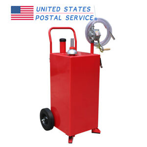 Red 30 Gallon Gas Fuel Diesel Caddy Transfer Tank Container W rotary Pump Auto