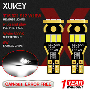 2x Car T15 921 912 W16w Led Wedge Bulbs Backup Reverse Tail Lights White 12v